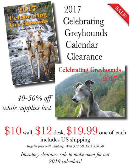 2017 Celebrating Greyhounds Desk and Wall Calendars